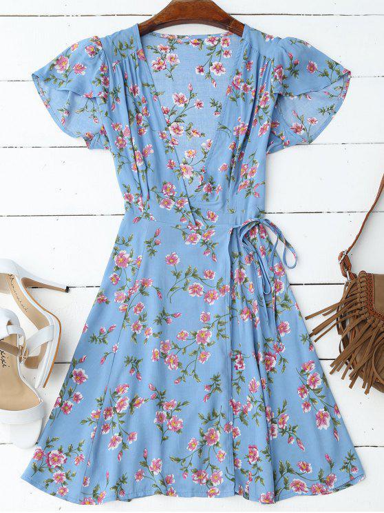 فستان كاب الأكمام لف مرسوم مصغر - أزرق M