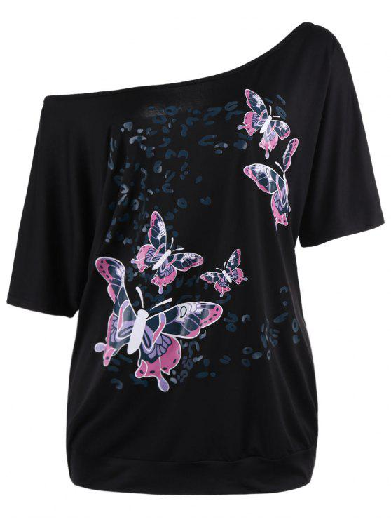 latest Skew Collar Butterfly Print Plus Size Top - BLACK 5XL