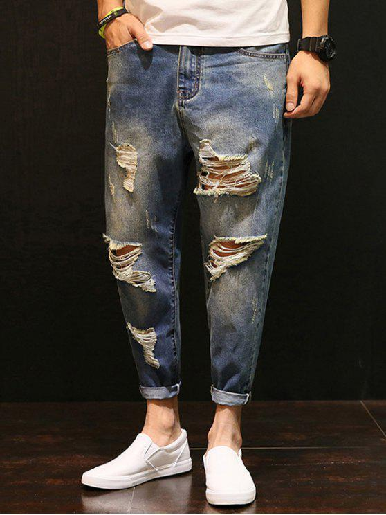 fashion Zipper Fly Distressed Low-Slung Crotch Nine Minutes of Jeans - BLUE 38
