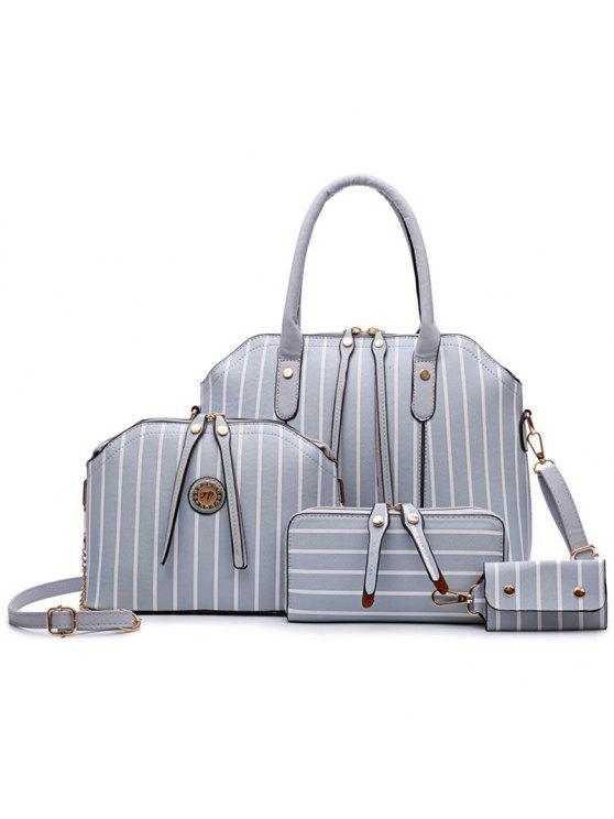 طقم حقيبة يد مخططة من 4 قطع - اللون الرمادي