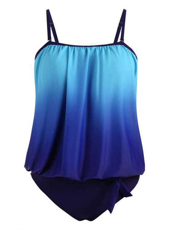 b17d26edfd 28% OFF] 2019 Ombre Padded Plus Size Blouson Tankini In BLUE | ZAFUL