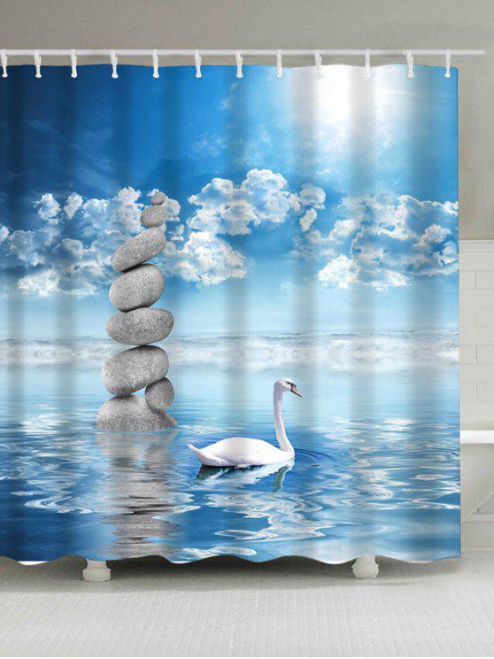 سوان في بحيرة طباعة ماء دش الستار - البحيرة الزرقاء W71 بوصة * L71 بوصة