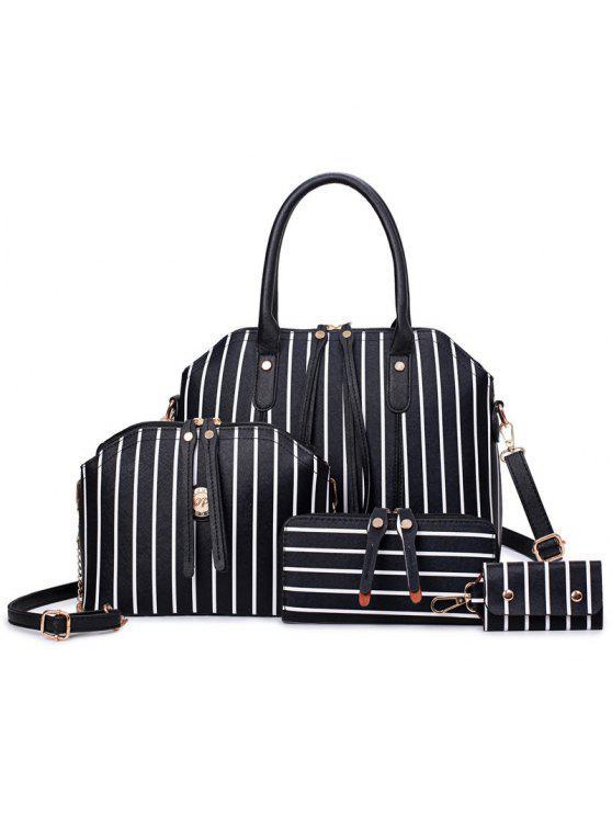 4 قطعة مجموعة حقيبة يد - أسود