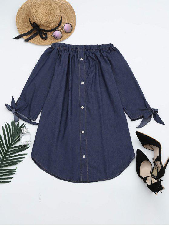 best Off The Shoulder Button Embellished Dress - DEEP BLUE L