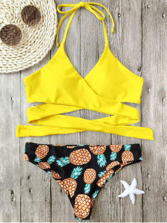 Bikini Enveloppant Imprimé Ananas à Col Halter - Jaune XL