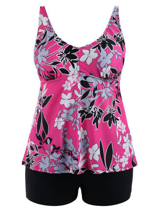 latest Floral Padded High Waisted Plus Size Tankini Set - ROSE RED 5XL