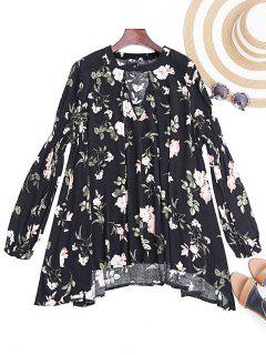 Keyhole Long Sleeve Floral Tunic Dress - Black S