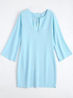Long Sleeve Scalloped Mini Sheath Dress - Light Blue S