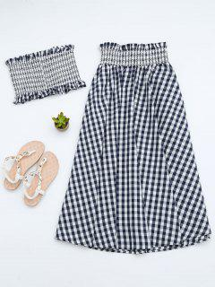 Ruffles Smocked Tube Top And Checked A-Line Maxi Skirt - Black M