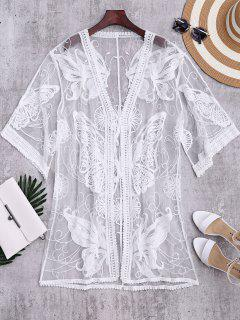 Cover Up Kimono Transparent Bordé Papillons - Blanc
