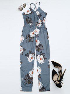 Floral Print Criss Cross Cami Jumpsuit - Floral L