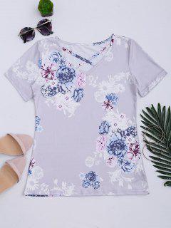 Criss Cross Floral Print V Neck Tee - Lavender Frost L