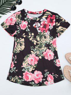 Camiseta De Impresión Floral Cuello Redondo - Floral L