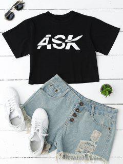 Loose Letter Cropped T-Shirt - Black M