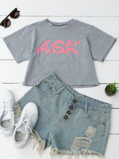 Loose Letter Cropped T-Shirt - Gray M