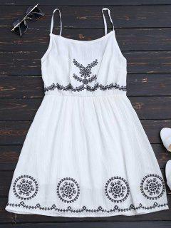 Patchwork Cami Mini Dress - White