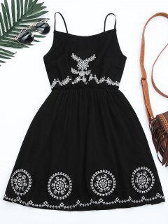 Patchwork Cami Mini Dress - Black