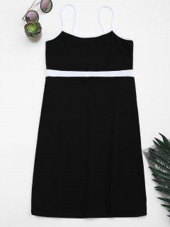 Two Tone Bodycon Slip Mini Dress - Black S