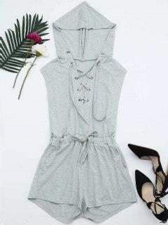 Lace Up Drawstring Hooded Romper - Light Gray S