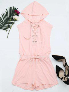 Lace Up Drawstring Hooded Romper - Pink S