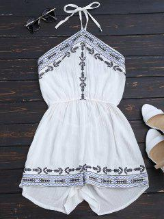 Embroidery Patched Halter Romper - White