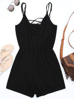 Strappy Criss Cross Cotton Romper - Black M