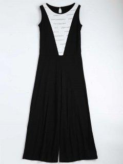 Contrast Ripped Sleeveless Jumpsuit - Black L