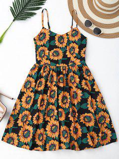 Floral Hollow Out Criss Cross Mini Dress - Black M
