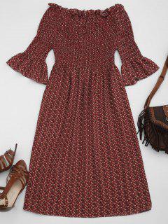 Robe à Rayures En Mousseline - Rouge Vineux  L