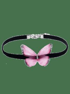 Collar Embellecido Del Ahogador De La Mariposa - Rosado