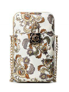 Chain PU Leather Floral Crossbody Bag - White
