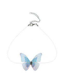 Rhinestone Mesh Butterfly Choker Necklace