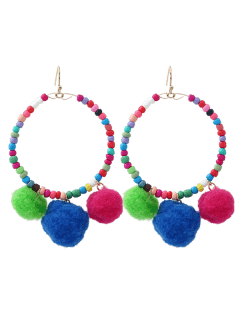 Fuzz Ball Circle Beaded Hook Earrings