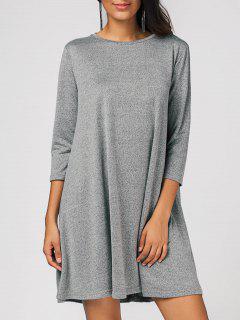 Loose Casual Swing Mini Dress - Gray S