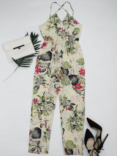 Leaves Print Criss Cross Cami Jumpsuit - Multi S