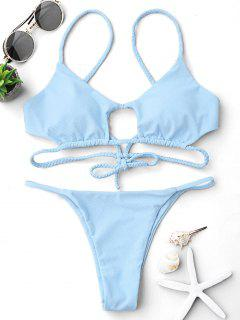 Cutout Braided Bralette String Bikini Set - Light Blue M
