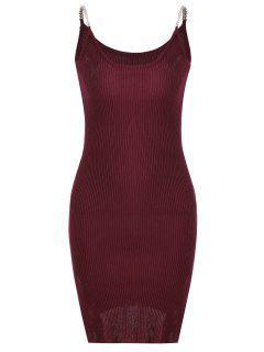 Vestido Acanalado De Tejido Con Tirante Fino Con Abertura Lateral - Rojo Oscuro