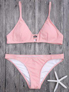 Kreuzgurte Spaghettiträger Texturisches Bikini Set - Pink S