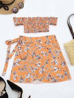 Floral Print Crop Top And Skirt Set - Floral L