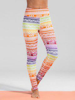 High Waisted Geometric Print Gym Yoga Leggings - L