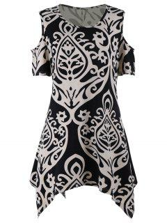 Cold Shoulder Printed Plus Size Tunic Top - Xl