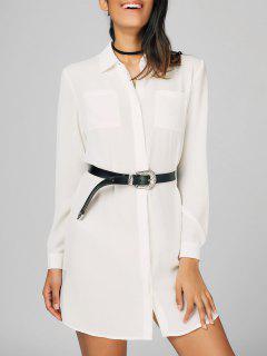 Button Up Shirt Casual Mini Dress - White 2xl