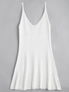 Mini Vestido En A Línea Con Tirante Fino - Blanco