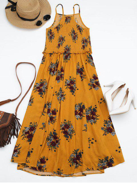 shops Floral A-Line Smocked Midi Dress - YELLOW S Mobile