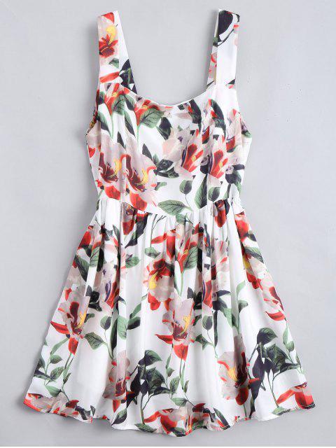 trendy Back Zipper Floral A-Line Mini Dress - FLORAL M Mobile