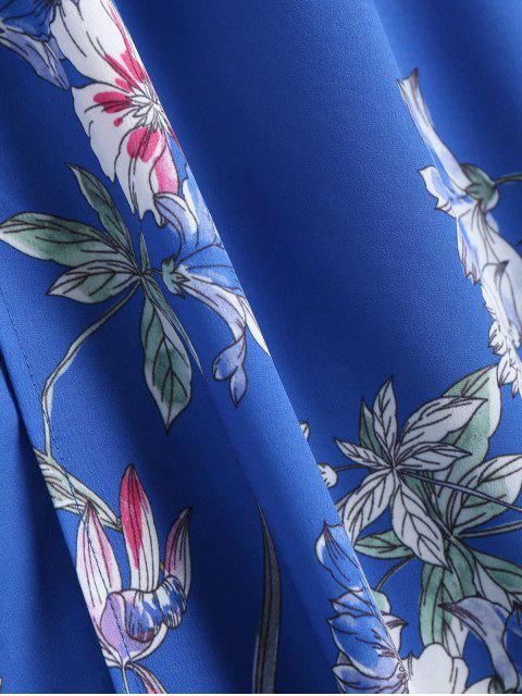 Robe maxi imprimée florale boutonnée à volants - Bleu S Mobile