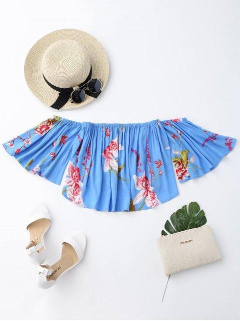 sale Floral Loose Off Shoulder Top - BLUE L Mobile
