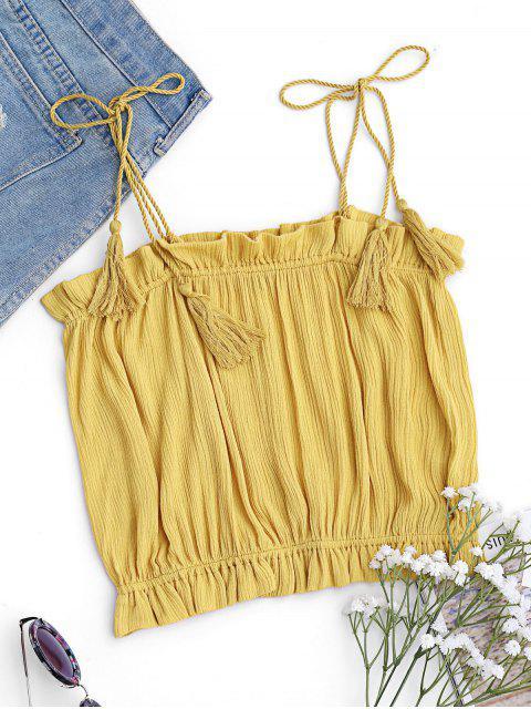 Cropped Ruffles Tassels Tank Top - Amarillo XL Mobile