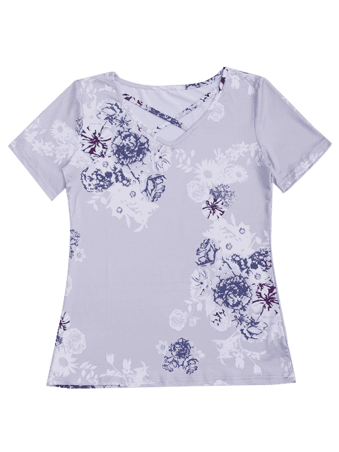 latest Criss Cross Floral Print V Neck Tee - LAVENDER FROST L Mobile