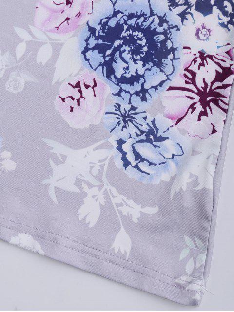 T-shirt à col V à lacets entrecroisés imprimé de motif floral - Lavande Givre M Mobile